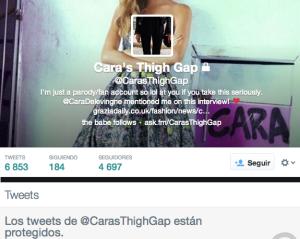 Captura de Pantalla de la cuenta en Twitter de la Musa del Thigh Gap