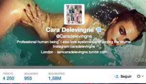 Captura de pantalla de la cuenta de Twitter de la Musa @CaraDelevingne