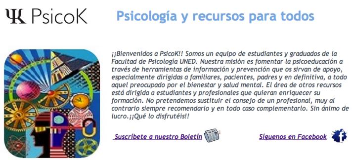 Captura de pantalla de la web PsicoK.es