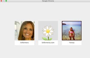 Pantalla con los tres usuarios de Chrome
